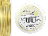 Artistic Wire Bare Yellow Brass 24 gauge, 20 yards