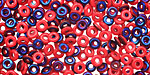 Czech Glass Blue Iris Opaque Red O-Bead 1x4mm