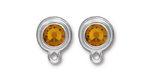 TierraCast Rhodium (plated) Stepped Bezel Ear Post w/ Topaz Crystal 12x17mm