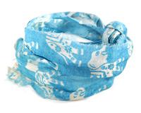 Turquoise Elephant 100% Silk Sari Ribbon