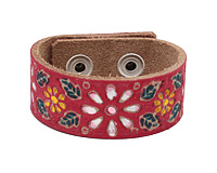 Hand Painted Red Vintage Daisy Print Leather Cuff 1 1/16""