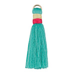 Turquoise w/ Pink and Cream Binding & Jump Ring Thread Tassel 41mm