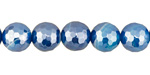 Sky Blue Line Agate w/ Silver Luster Faceted Round 10mm