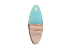 Wood & Sea Green Resin Oval Focal 10x28mm