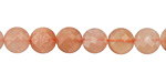 Peach Moonstone Faceted Puff Coin 8mm