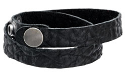 "The Lipstick Ranch Black Hornback Bull Hide Cuff Double Wrap Bracelet 1/2"" x 16 1/4"""