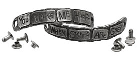 "The Lipstick Ranch Pewter ""You Make Me Happy ..."" 2 Piece Cuff Plates w/ Rivets 76-77x11mm"