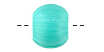 Turquoise Raffia Wrapped Wood Bead Large-Hole 16x19-20mm