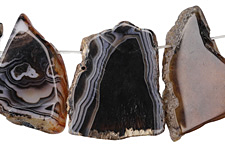 Black Line Agate Freeform Slice Drop w/ Natural Edge 20-45x40-50mm