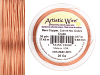 Artistic Wire Bare Copper 26 gauge, 30 yards