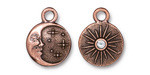 TierraCast Antique Copper (plated) Starry Night w/ Crystal Charm 15x19mm