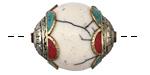 Tibetan White Shell & White Brass Bead w/ Coral & Turquoise Scallops 27-28x21-22mm