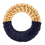 Navy Raffia Wrapped Natural Rattan-Style Woven Ring Focal 39-42mm