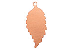 Copper Feathered Leaf (right) Blank Pendant 14x32mm