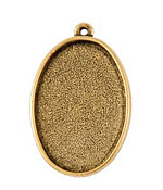 Nunn Design Antique Gold (plated) Grande Oval Bezel Pendant 44x28mm