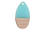 Wood & Sea Green Resin Teardrop Focal 16x30mm