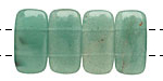 Green Aventurine 2-Hole Rounded Rectangle 10x20mm