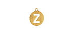 """Gold (plated) Stainless Steel Initial Coin Charm """"Z"""" 10x12mm"""