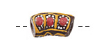 African Hand-Painted in Red/Saffron/White on Brown Powder Glass (Krobo) Bead 22-25x13mm