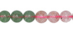 Strawberry Quartz w/ Green Quartz Round 8mm
