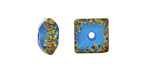 A Beaded Gift Dusted Caribbean Blue Glass Square Rondelle 14mm