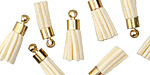 Ivory w/ Gold (plated) Bead Cap Faux Suede Tassel 17mm