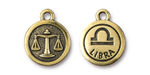 TierraCast Antique Gold (plated) Round Libra Charm 15x18mm