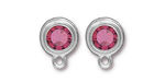 TierraCast Rhodium (plated) Stepped Bezel Ear Post w/ Rose Crystal 12x17mm