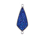 Metallic Indigo Crystal Druzy Teardrop Link in Silver Finish Bezel 33x14mm