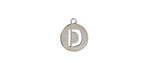 """Stainless Steel Initial Coin Charm """"D"""" 10x12mm"""