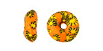 African Recycled Glass & Seed Bead Orange w/ Yellow & Black Mini Donut 5-7x13-14mm
