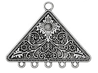 Zola Elements Antique Silver (plated) Floral Triangle Chandelier Pendant 58x45mm