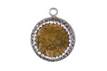 Turmeric Druzy w/ Pave Wrap Coin Focal Set in Silver Finish Bezel 20x23mm