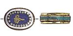 "Tibetan White Brass & Brass ""Wisdom Eyes"" Oval Coin Bead w/ Lapis & Turquoise 22x17mm"