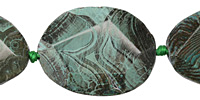 Lagoon Line Agate Faceted Flab Oval 35-42x25-33mm