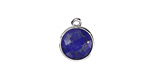 Lapis (enhanced) Faceted Coin Pendant in Silver Finish Bezel 12x15mm