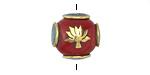Tibetan Resin Coral w/ Brass Lotus & Turquoise Round Bead 15-16mm
