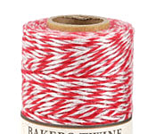 Red/White & Metallic Silver Bakers Twine 2 ply, 410 ft