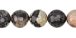 Black Silver Leaf Faceted Round 12mm