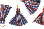 Red, White & Blue w/ Jump Ring Thread Tassel 20mm