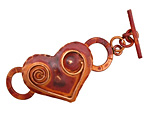 Patricia Healey Copper Spiral Heart Toggle Clasp 56x24mm, 22mm bar