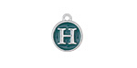 "Peacock Green Enamel Silver Finish Initial Coin Charm ""H"" 12x14mm"