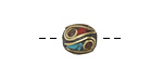 Tibetan Brass Rice Bead w/ Brass Dots & Turquoise & Coral Mosaic Plumes 10-11x10mm