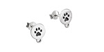 Nina Designs Sterling Silver Etched Paw Print Disk Post Earring w/Loop