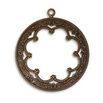 Vintaj Natural Brass Framed Scrollwork Pendant 35x40mm