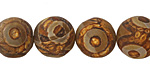 Tibetan (Dzi) Agate Matte Round 14mm
