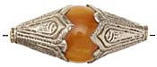 Tibetan Large Resin Amber & White Brass Rice Bead 52x21mm