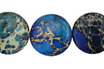 Midnight Blue Impression Jasper Puff Coin 20mm