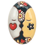 Golem Studio First Kiss Carved Ceramic Oval Pendant 32x51mm