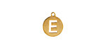 "Gold (plated) Stainless Steel Initial Coin Charm ""E"" 10x12mm"